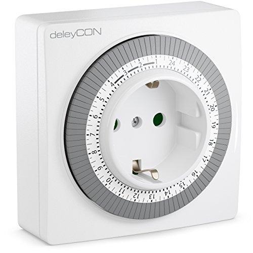 deleyCON Mechanische Zeitschaltuhr Zeitschalter Schaltuhr Timer manuell einstellbar über Drehscheibe 96 Schaltungen Innenbereich 3500W Weiß