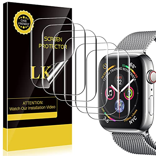 LK 6 Pack Screen Protector Compatible with Apple Watch 45mm Series 7 /Apple Watch 44mm Series 6, Model NO.KO4721 Japanese Material, Bubble-free, Flexible TPU Film