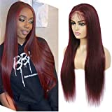 99j Human Hair Straight Long Burgundy Lace Front Wigs For Black Women With Baby Hair 13x4 Lace Front Wigs Human Hair 150% Brazilian Density Lace Front Wigs (12Inch)