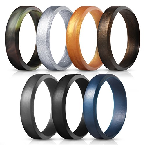 Saco Band Silicone Rings for Men - 7Pack & 4Pack Beveled Rubber Wedding Bands (Camo Dark Blue Gray Black Bronze Gold Silver, 9.5-10 (19.8mm))