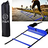 H&H 12 Rung Agility Ladder, Agility Training Ladder Speed Training Equipment with Carry Bag, Football Flexibility Training Jumping Ladder (Blue) …