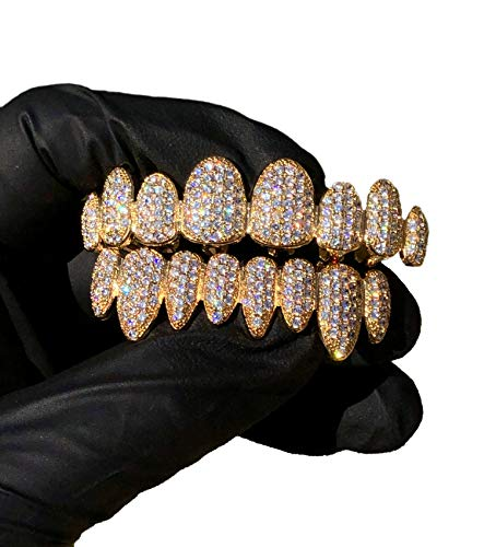 14k Plated Joker Gold Grillz for Mouth Top Bottom Hip Hop Teeth Grills for Teeth Mouth Grillz for Mouth Top Bottom Hip Hop 8 Teeth Grills for Teeth Mouth Set - Grillz, Teeth Cap, Iced Out Grillz)