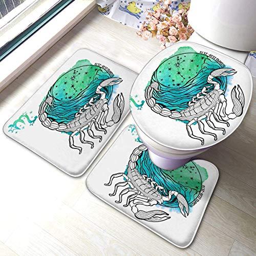 Python Mix Badmatten-Sets 3-teiliges Set Skorpion Sternzeichen Horoskop Sternbild Sterne im Kreis Anti-Rutsch-Pads Badematte + Konturpads + Toilettendeckelabdeckung