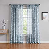 FMFUNCTEX Flax-Blend Blue Sheer Curtains for Living Room Vintage White Floral Printing Drapes on Flax Blend Sheers for Bedroom Windows 96'-Long Rod Pocket
