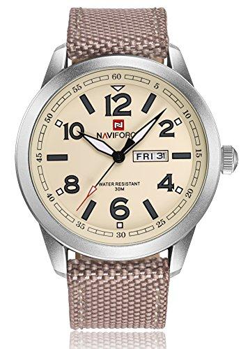 Naviforce - Reloj de pulsera de cuarzo para hombre, correa de nailon verde plateado, resistente al agua