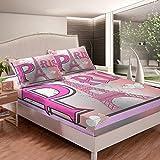 Juego de sábanas con diseño de torre Eiffel de color rosa para niños, niñas, mujer, paisaje urbano, juego de cama romántico, estampado floral, 3 piezas, sábanas de tamaño doble