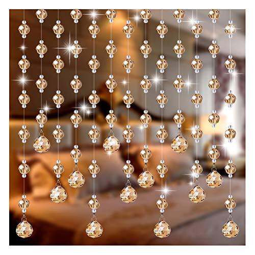 ABBD 25 Hilos Cortinas con Cuentas para Cristales de Puertas, Cortinas con Cuentas Cristal Cuentas de Cristal Panel Armario Divisor de habitación Panel Colgante Decorativo Personalizable-100x180cm