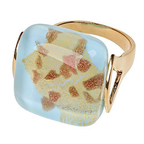 Aleksander Sternen Murano Star Ring 925/- Sterling Silber vergoldet Muranoglas mit Blattgold 999er RW17