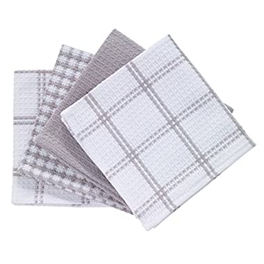 T-fal Textiles 100% Cotton Waffle Weave Kitchen Dish Cloths, 12  x13 , Set of 4 Designs, Gray