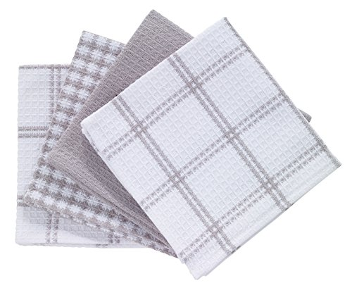 T-fal Textiles Cotton Flat Waffle Dish Cloth, Highly Absorbent, Machine Washable, 12' x 13', Gray, 4-Pack