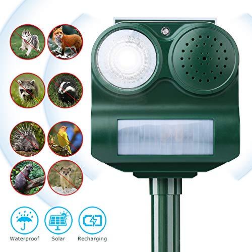 CAMTOA Solar Repeller Maulwurfschreck, Ultraschall Solar Wasserdicht Frequenz Sensor Tiervertreiber mit Batterie für Garten Yard Field Farm Marderschreck Katzenschrekck Hundeschreck