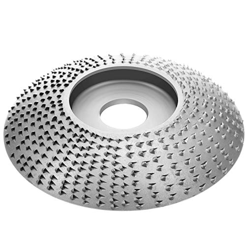 Wood Grinding Wheel Tungsten Carbide Grinding Wheel Grinder Shaping Disc Carving Abrasive Disc for 5/8 Inch Sanding Carving Shaping Polishing Angle Grinder Attachment Tool (Silver)