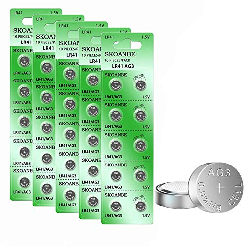 SKOANBE 50PCS AG3 Button Cell L736F LR41 192 392 Thermometer Size Battery