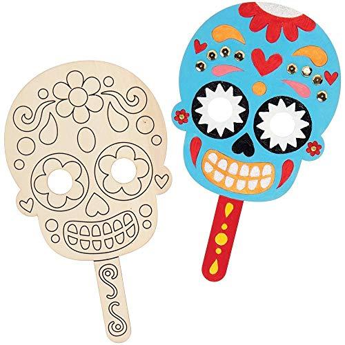Baker Ross AX236 Máscaras De Madera Del Día De Los Muertos - Paquete De 4, Decoraciones De Halloween, Arte Creativo Y Suministros Para Manualidades Para Niños