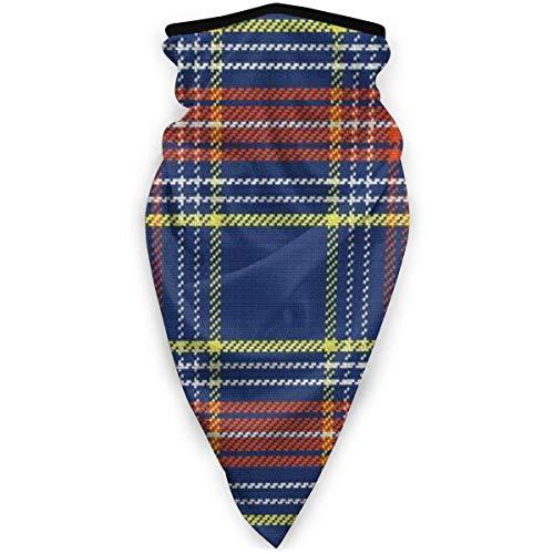 TTYIY Máscara de esquí resistente al viento, máscara deportiva para el cuello, bufanda de cuello de motocicleta, tartán escocés, azul y blanco, amarillo y rojo, pasamontañas, capa media térmica de invierno