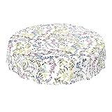 ANRO - Mantel de hule lavable, para mesa, 95% PVC, 5% poliéster., Diseño floral blanco., 220 x 140cm Schnittkante