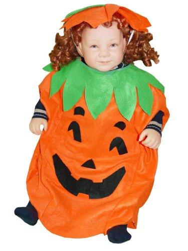 AN01 Größe 74-80 Kürbis Kostüm für Halloween, Halloweenkostüm mit Kopfschmuck