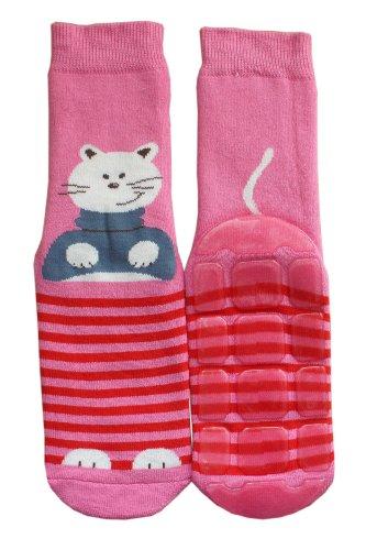 Weri Spezials Baby & Kinder Voll-ABS Voll-Frotee Anti-Rutsch Socken für Jungen & Mädchen - H& & Katze! In verschiedenen Muster- & Farbvariationen. (31-34, Rosa Katze)