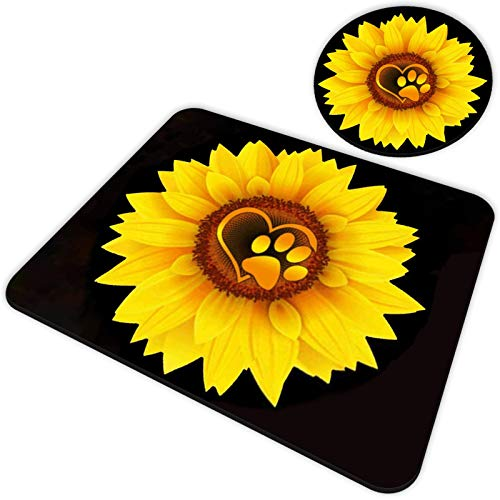 Gaming Mouse Pad and Coasters Set, Cute Dog Paw Print Love Yellow Sunflower Mousepad, Non-Slip Rubber Rectangle Mouse Pad, Customized Mouse Mat for Working and Gaming