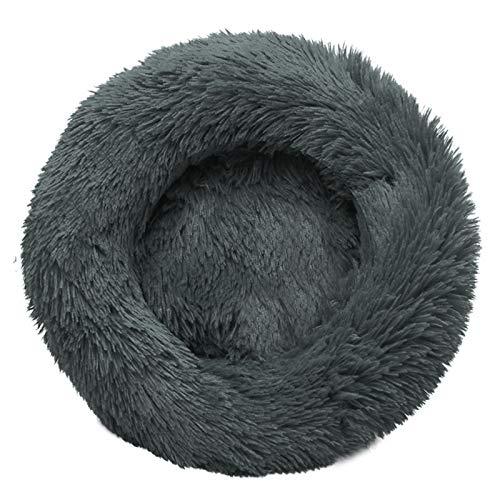 LHY Redonda Cama Perro Gato Cama Cama de Felpa para Mascota Lavable Sofa Suave Cachorro Calentito Cojín,Negro,23.62in
