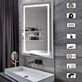 CITYMODA 28x20inch Bathroom Mirror with Lights Large Dimmable LED Makeup Vanity Brushed Aluminum Frame Lighted Mirror with Touch Button Horizontal/Vertical Anti-Fog, Color Adjustable