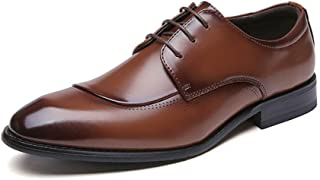 XinQuan Wang Business Oxford for Men Retro Wedding Shoes Lace up Genuine Leather Block Heel Burnished Style Rubber Sole Pointed Toe Anti-Slip (Color : Brown, Size : 8.5 UK)