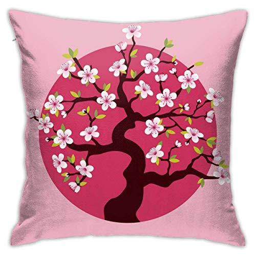 YUNYANG Funda de almohada romántica de felpa con diseño de flor de cerezo rosa, 45,7 x 45,7 cm