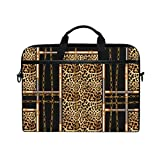 MRMIAN Hipster Animal Leopard Print Geometry Laptop Case Bag Sleeve Portable/Crossbody Messenger Briefcase Convertible w/Strap Pocket for Macbook Air/Pro Surface Dell ASUS hp lenovo 15-15.4 inch