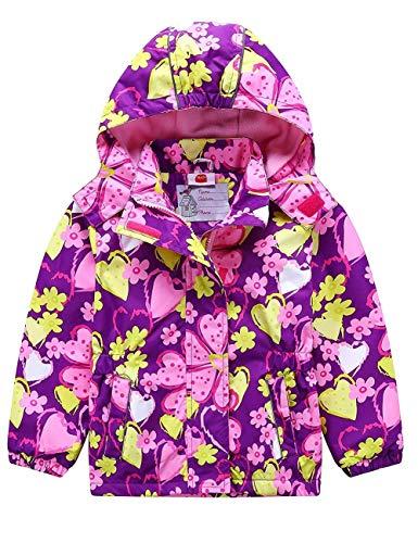 G-Kids Mädchen Wasserdicht Jacke Übergangsjacke Regenjacke mit Fleecefütterung Warm Winddicht Atmungsaktiv Wanderjacke Outdoorjacke Lila 110/116