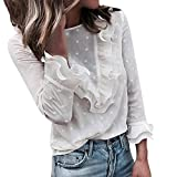 MORCHAN Femmes Mesdames Dentelle Casual Pois O T-Shirt Manches Longues Tops Chemisier(X-Large,Blanc)