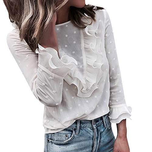 Vectry Blusas De Volantes Blusas De Mujer con Encaje Blusa Gasa Mujer Blusas De Volantes De Mujer Blusas Elegantes Blusa Mangas Volantes Blusas Encaje Blusa De Gasa (T_Transparente, S)
