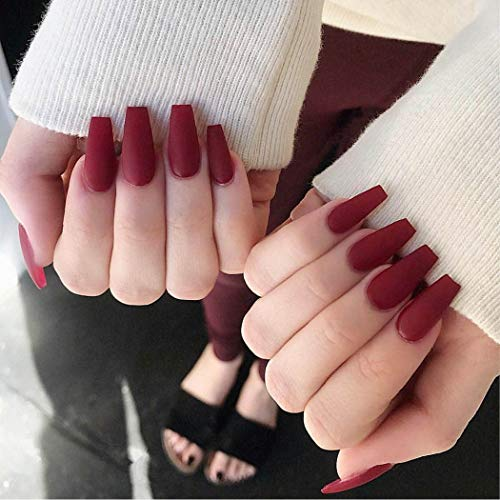Nicute Matte Coffin Fake Nail Red Ballerina Full Cover False Nails Pure Color Press on Nail Tips for Women and Girls(24Pcs)