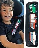 1x Protector para cinturón de seguridad HECKBO con dibujos de camión de bomberos, ambulancia y tractor - para niños - Protector para cinturón, almohadilla para el hombro, cinturón de seguridad