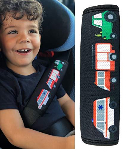 HECKBO 1x Kinder Auto Sicherheitsgurt mit Feuerwehr, Traktor, Krankenwagen - 21 x 6cm - Gurtschoner Kissen Autositz Gurt Fahrradsitz Gurt Gurtpolster für Sitzerhöhung Gurtschutz