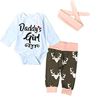 Baby Infant Toddler Girls Daddys Girl Christmas Outfit Long Sleeve Bodysuit + Pants + Headband Cotton Clothes Set
