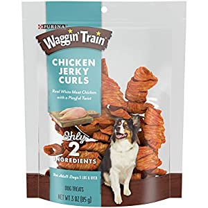 Purina Waggin' Train Limited Ingredient, Grain Free Dog Jerky Treat, Chicken Jerky Curls – 3 oz. Pouches (Pack of 6)