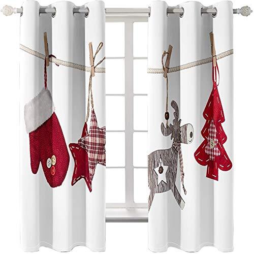 AMDXD 2 Paneles Cortina Poliester Habitacion, Cortinas Salon Modernas 2 Piezas Árbol de Navidad Ciervo Estrellas y Guante Cortinas Opacas Decoradas, Rojo Blanco, 264x214CM