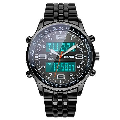 SKMEI - Reloj de Pulsera para Hombre, analógico, Digital, de Acero Inoxidable, Resistente al Agua, LED, cronómetro, para esquí, Color Plateado