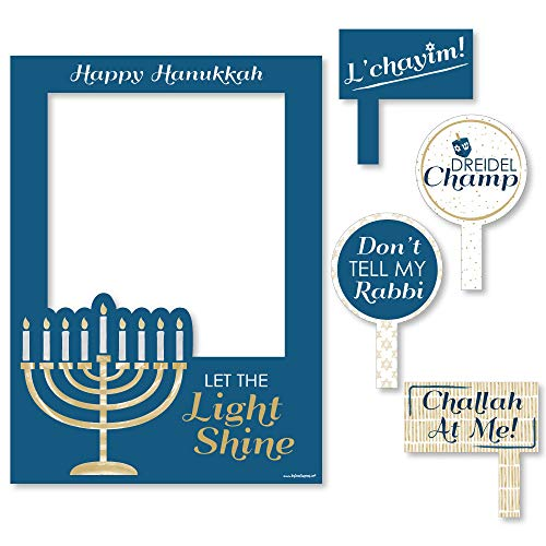 Big Dot of Happiness Happy Hanukkah - Chanukah Party Selfie Photo Booth Picture Frame and Props - Printed on Sturdy Material