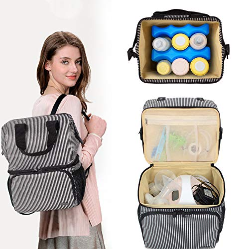 Luxja Breast Pump Bag with 2 Compartments for Breast Pump and Cooler Bag, Breast Pumping Bag with 2 Options for Wearing (Fits Most Major Breast Pump), Stripe