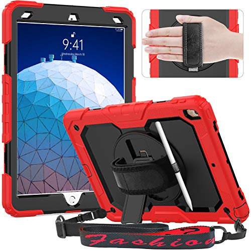 Timecity Case Compatible with iPad Air 3 2019 / iPad Pro 10.5 Inch 2017, Full-body Shockproof Cover with Screen Protector, 360° Rotating Stand, Hand Strap/Pen Holder for iPad Air 3rd Gen 10.5' - Red