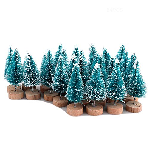 Ironhorse 24Pcs Mini Blue Pine Trees Kit Sisal Snow Frost Trees with Wood Base Bottle Brush Trees Plastic Winter Snow Decoration Desktop Trees Crafting Party Favors