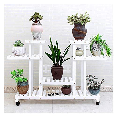 ZXH Bloemenrek met 4 niveaus, 12 potten, houten plantenrek, tuinrek met wieltjes, multifunctioneel opslagrek, boekenrek, 120 x 80 x 25 cm