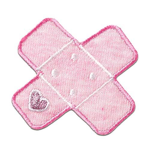 Aufnäher/Bügelbild - Pflaster Flicken mit Herz - rosa - 5x5cm - Patch Aufbügler Applikationen zum aufbügeln Applikation Patches Flicken