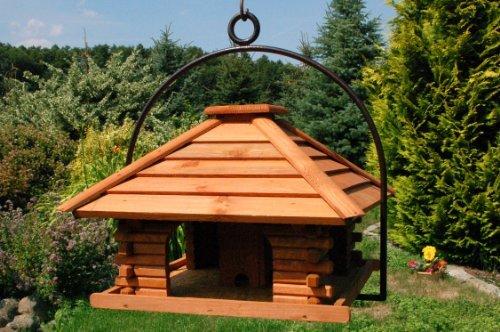 XXL Vogelhaus Nr20 Dach mit Holzlamellen und Bügel zum aufhängen von Vogelhaus, Nistkasten, Vogelhäuschen, Futterhaus, Vogelvilla und Vogelhäusern, feuerverzinkt und pulverbeschichtet, rostfrei, hängend