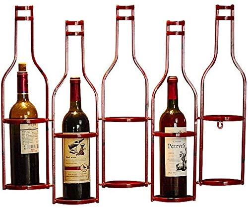 NSYNSY Estante para vinos Estante para Vino Soporte de Pared de Metal |Loft Estante de Pared con Almacenamiento Estante de Pared |Titular de la Botella de Vino |Vinoteca Cube Vintage (Rojo)