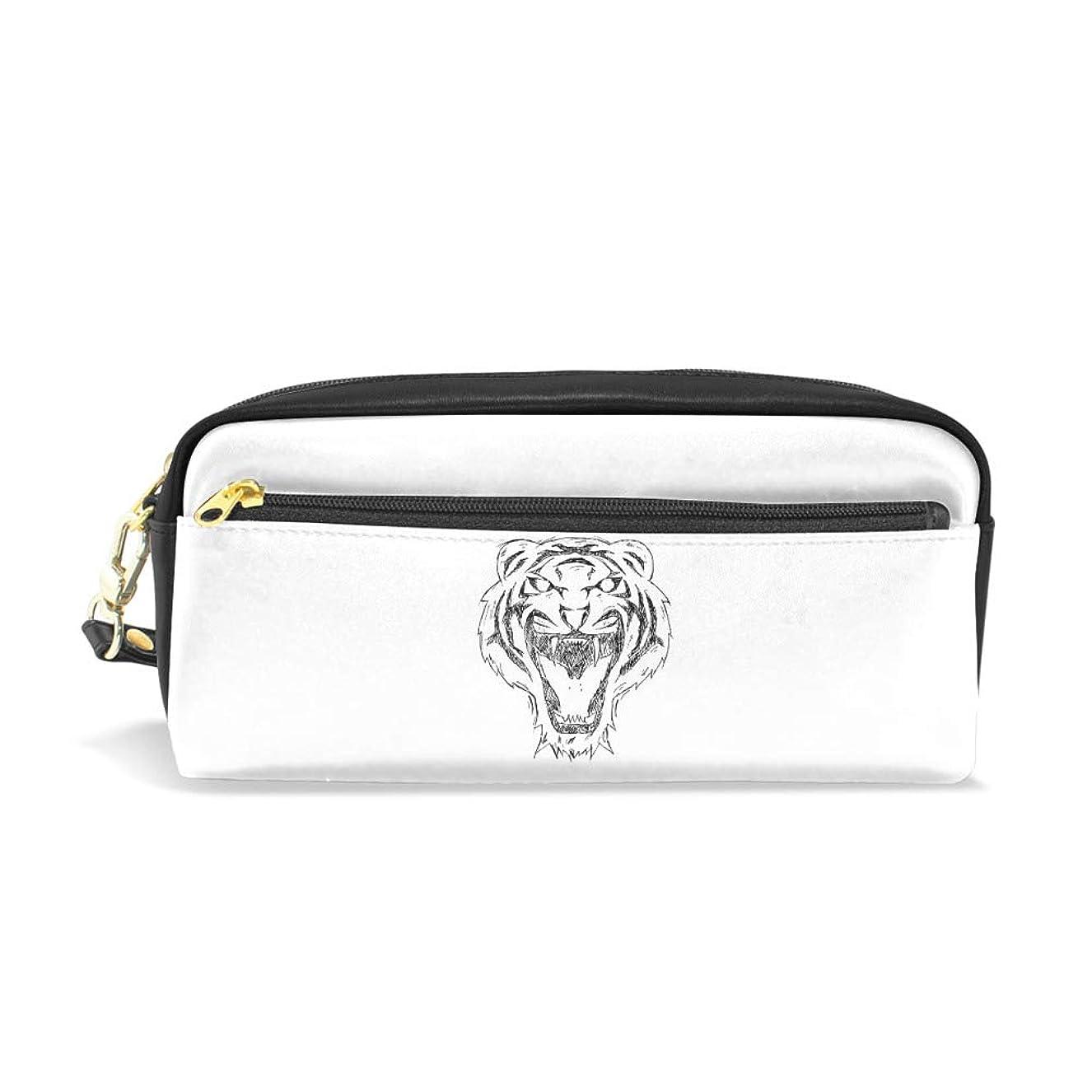 強調イヤホン雇うZhongjiレザーペンシルバッグ 化粧品バッグ クリエイティブ 単純な 大容量 可愛い