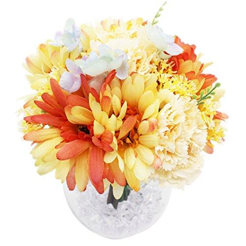 Lumiphire Kunstbloemen met Vaas Woonaccessoire Decoratie voor Woonkamer en Eetkamer Indoor Ornamenten Geschenken voor Haar Valentijnsdag Moederdag Verjaardag Dank Je Gerbera Anjer 23cm Oranje