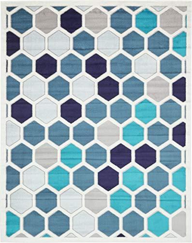 Unique Loom Metro Collection Bright Colors Geometric Kids Cream Area Rug (8' x 10')