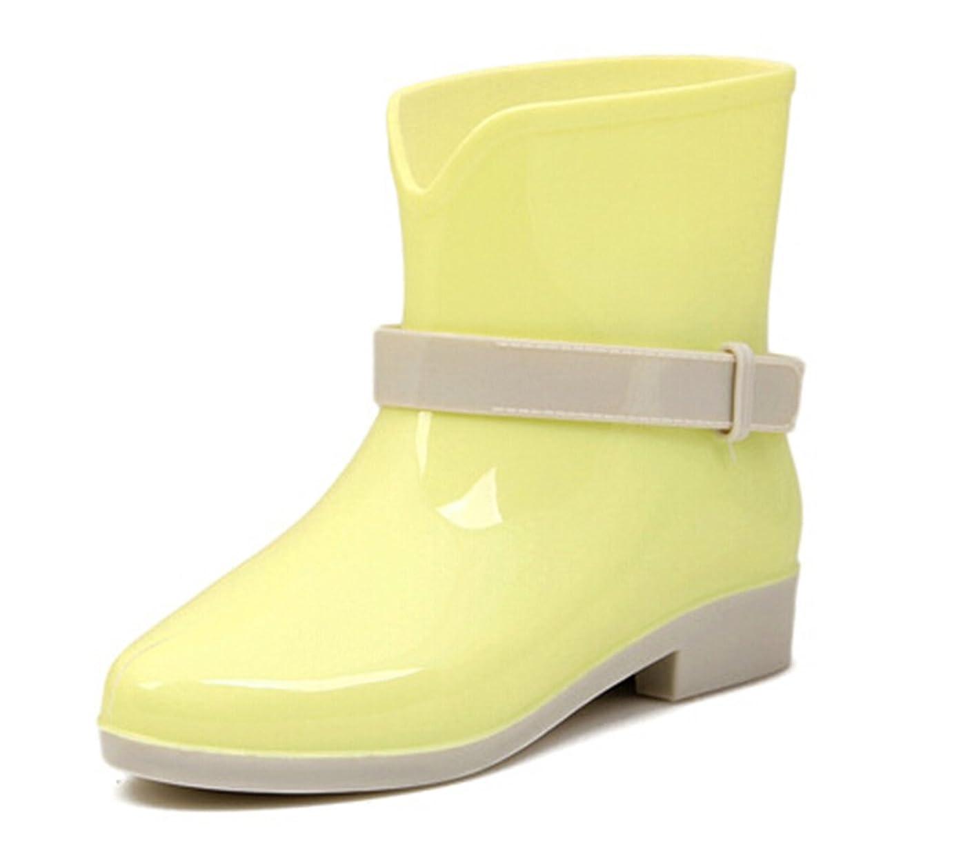 内陸製造医薬品[KISS GOLD] ガールズ キャンディ カラー レインシューズ レインシューズ 雨靴 Girlish Candy Color Soft Rubber Ankle Rain Boots